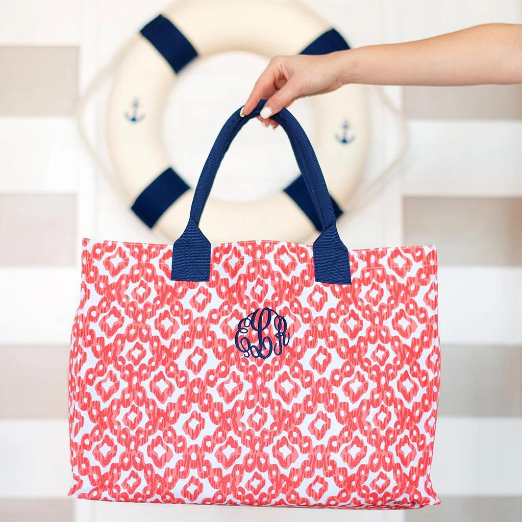 Personalized Coral Navy Ikat Tote Bag