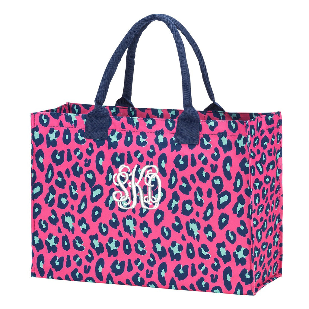 Personalized Hot Pink Leopard Tote Bag
