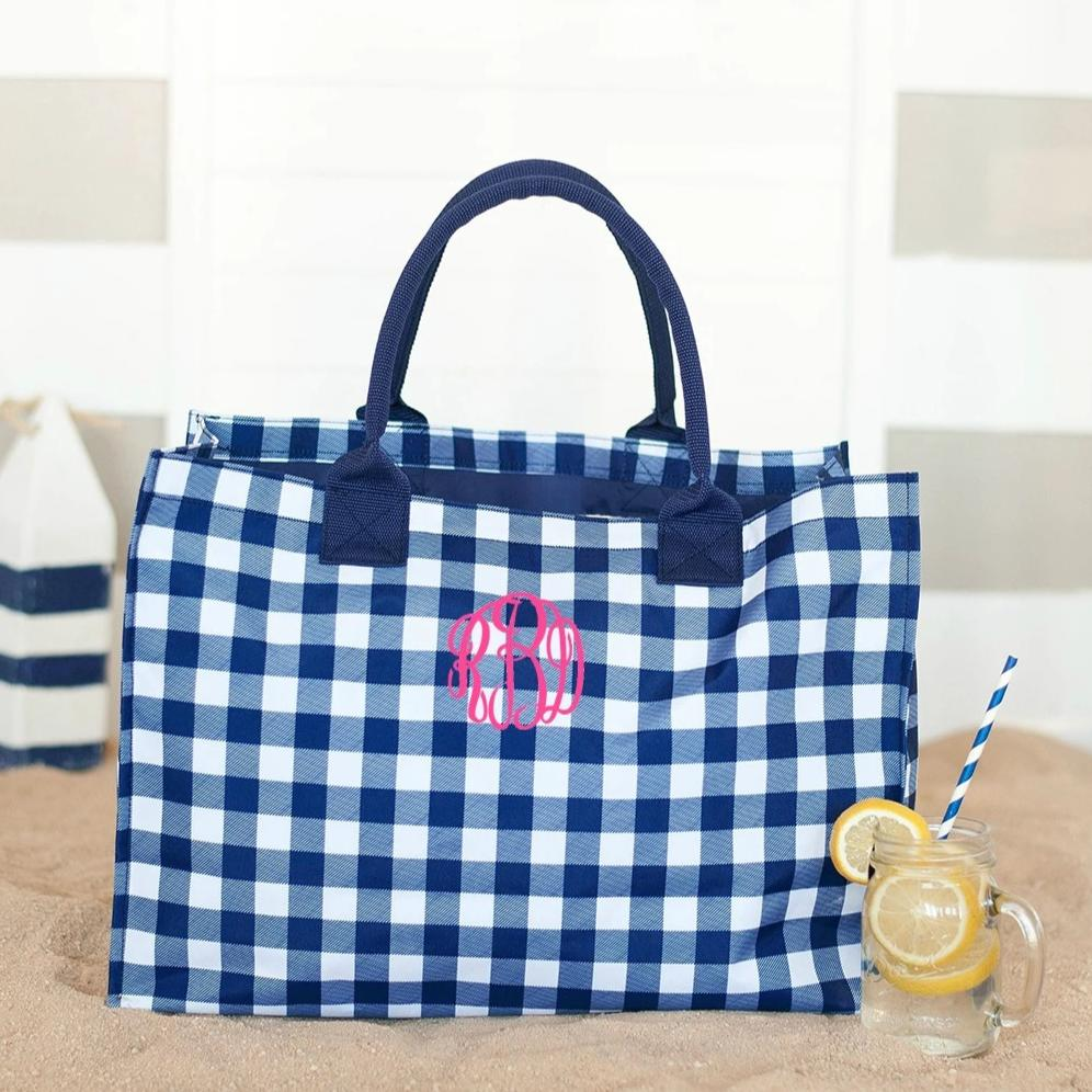 Personalized Navy Checkered Plaid Tote Bag