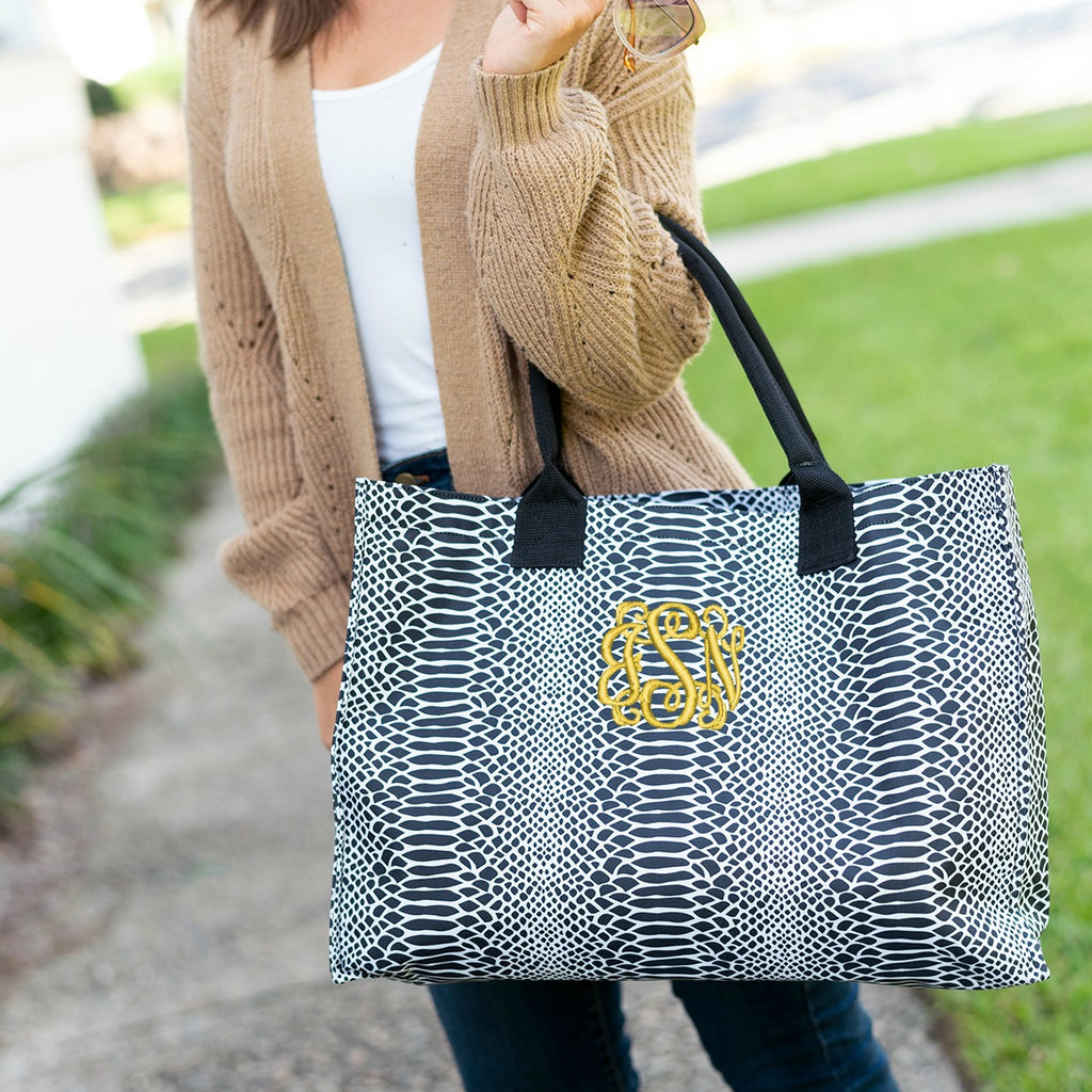 Personalized Snakeskin Tote Bag