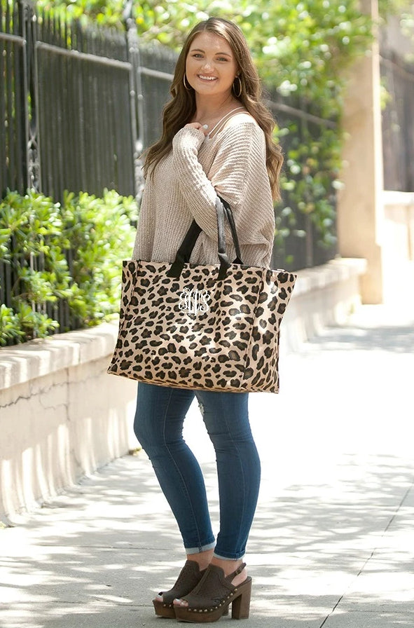 Personalized Leopard Tote Bag