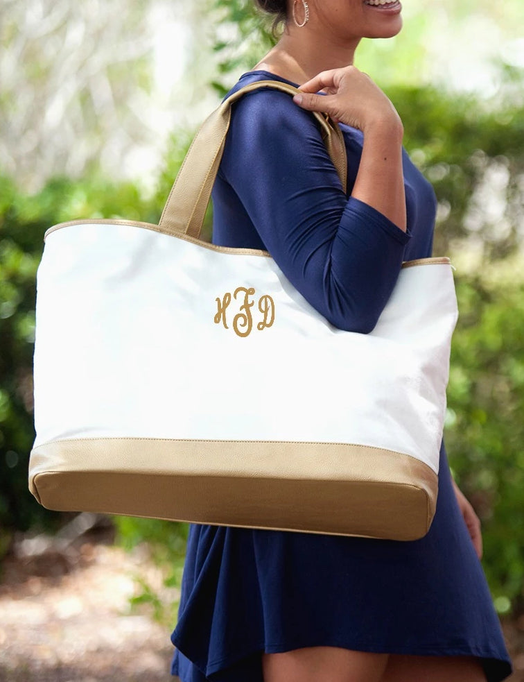 Personalized Tote Bag - Metallic Gold Trim - Cream