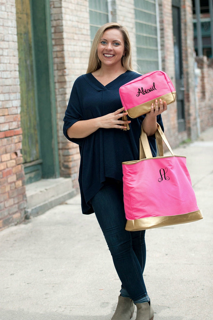 Personalized Tote Bag - Metallic Gold Trim - Hot Pink