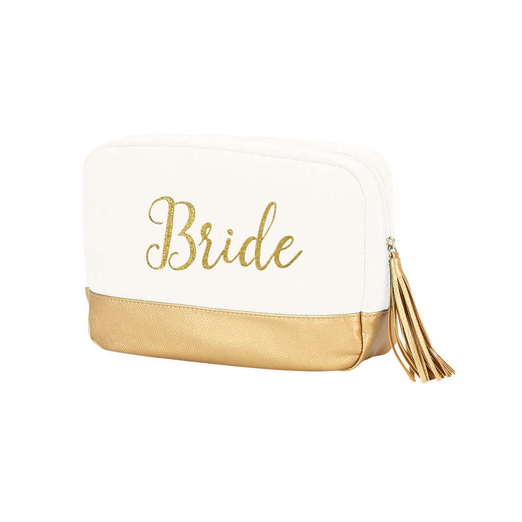 Creme Cosmetic Bag Embroidered BRIDE Gold Thread