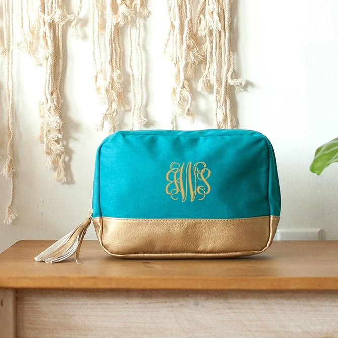 Personalized Tassel Cosmetic Bag - Metallic Gold Trim - Teal