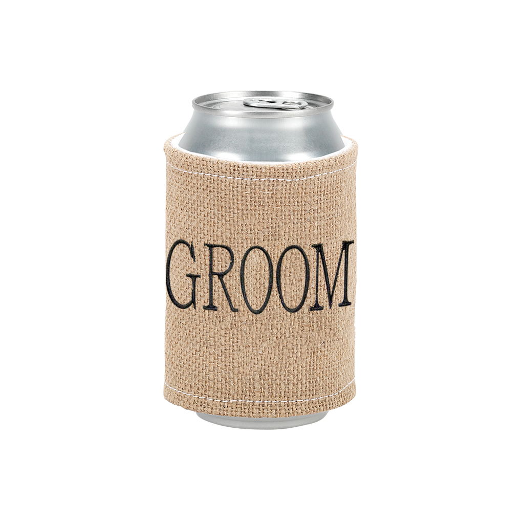 Groom Burlap Drink Wrap Embroidered Black Thread