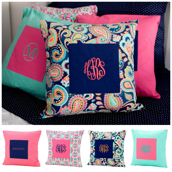 Monogrammed Pillow Case Cover Teen Girls Bedding - Gifts Happen Here - 1