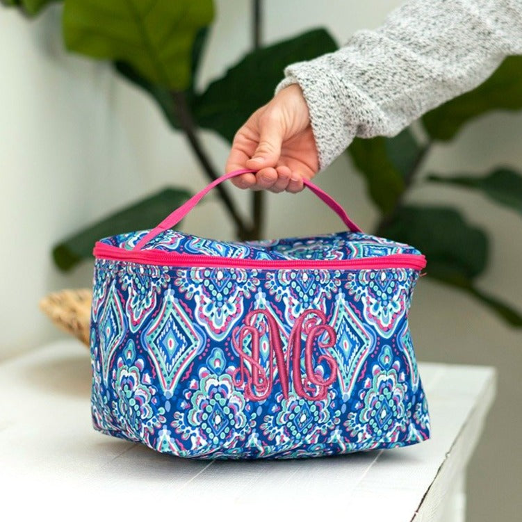 Personalized Large Cosmetic Bag - Boho Ikat