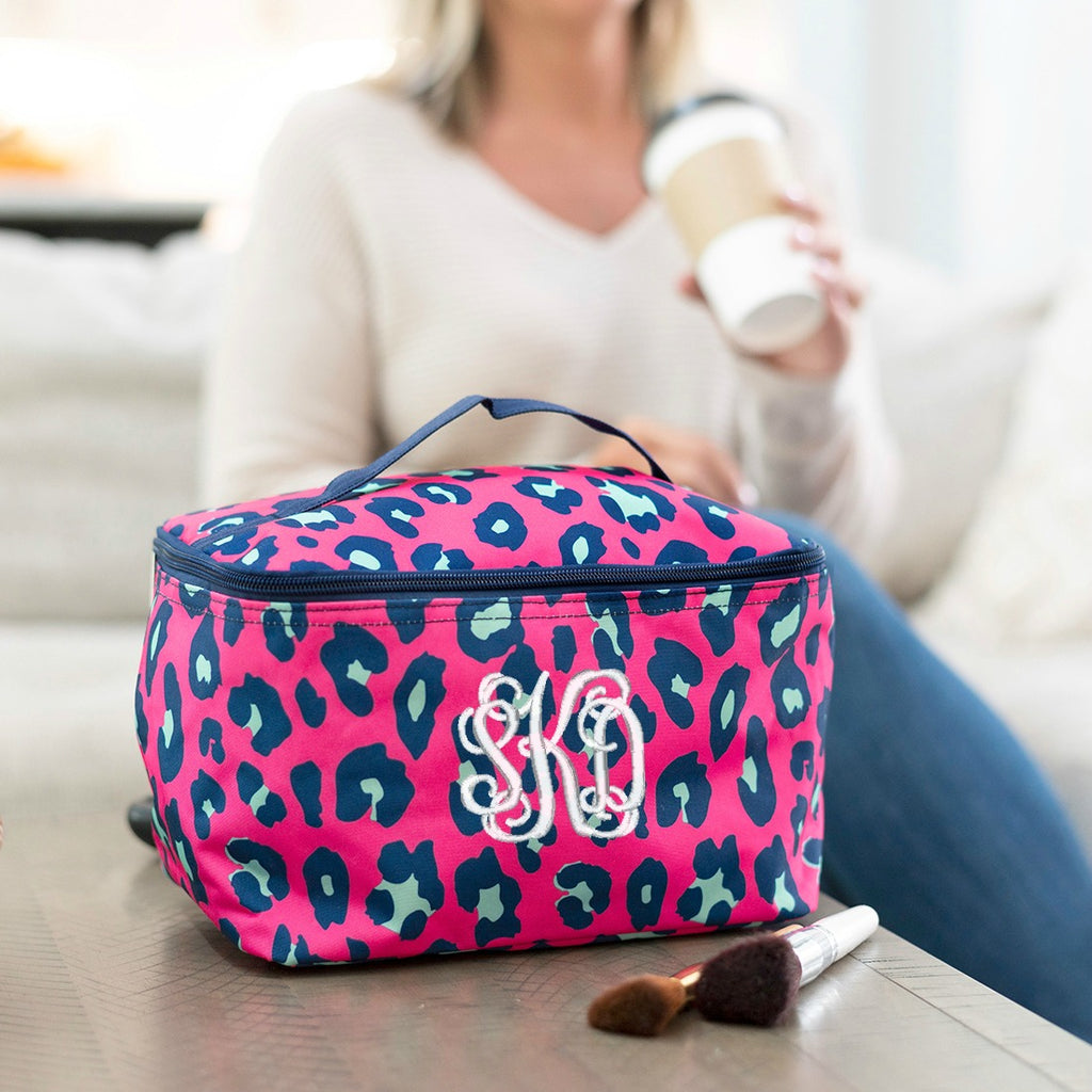 Personalized Large Cosmetic Bag - Hot Pink Leopard