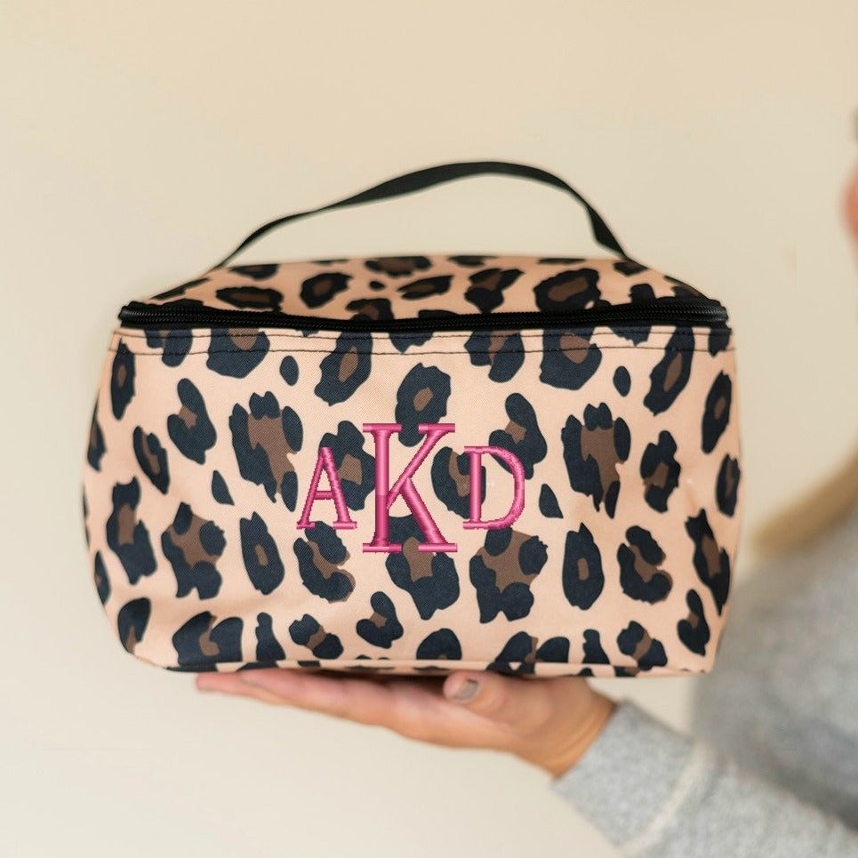 Personalized Large Cosmetic Bag - Leopard