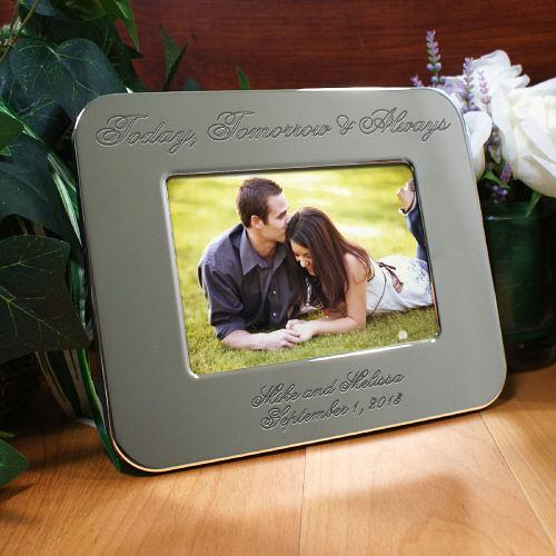 Personalized Engraved Wedding Silver Picture Frame