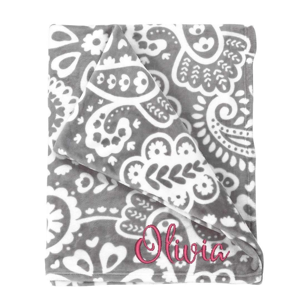 Personalized Blanket - Plush Polyester - Paisley Gray