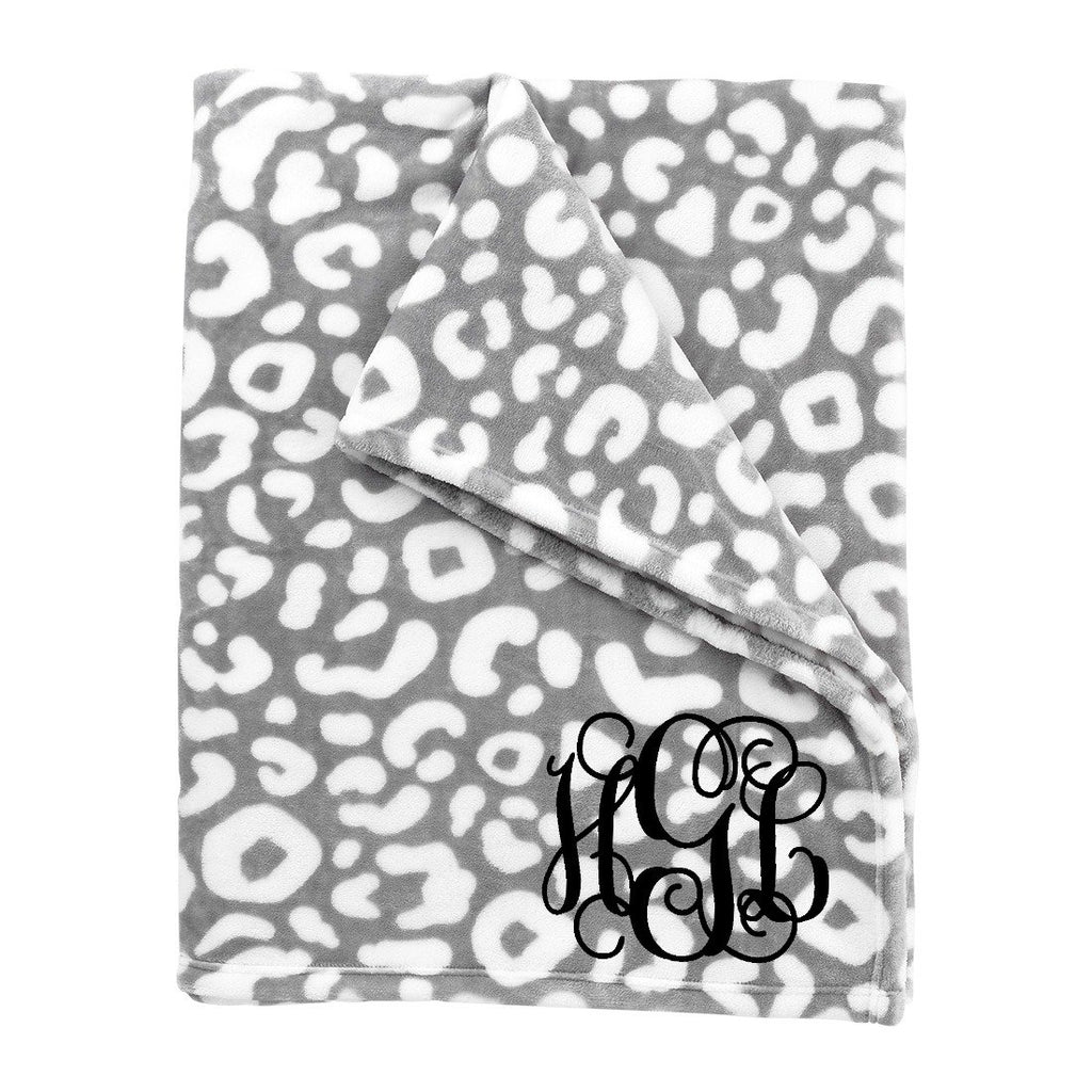 Personalized Blanket - Plush Polyester - Gray Leopard