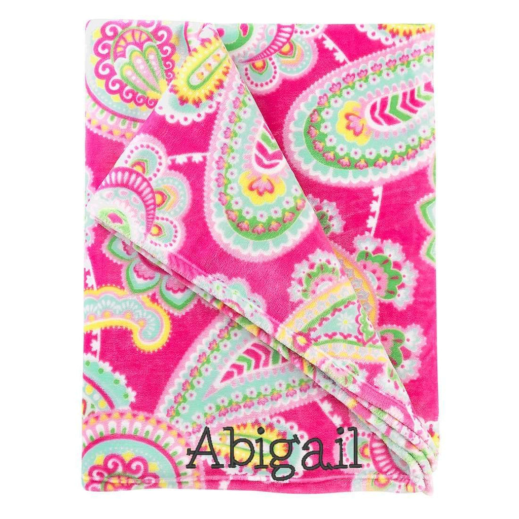 Personalized Blanket - Plush Polyester - Paisley Pink & Mint