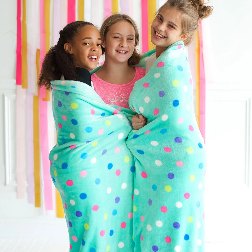 Personalized Blanket - Plush Polyester - Mint Polka Dot