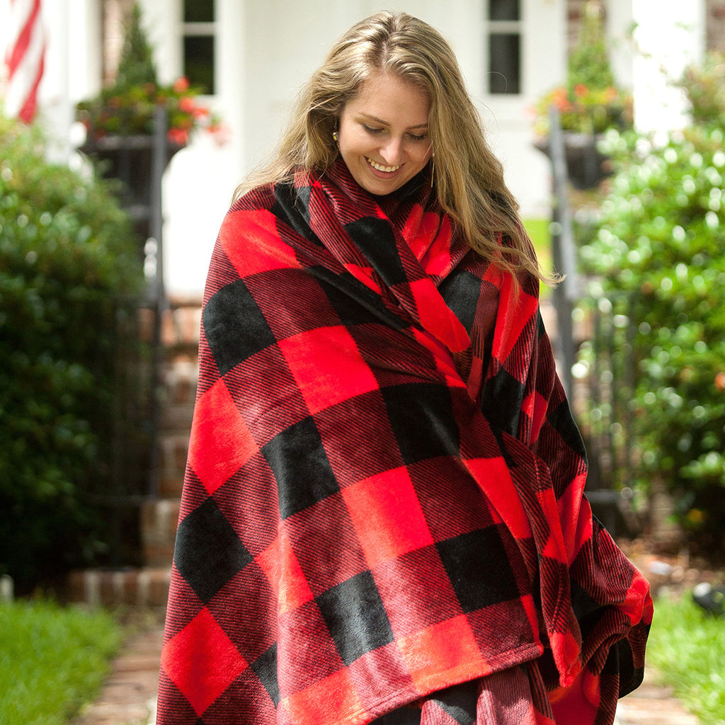 Personalized Blanket - Plush Polyester - Red Buffalo Checkered Plaid