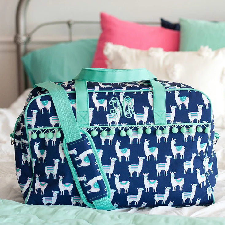 Personalized Pom-Pom Travel Bag for Kids - Llama
