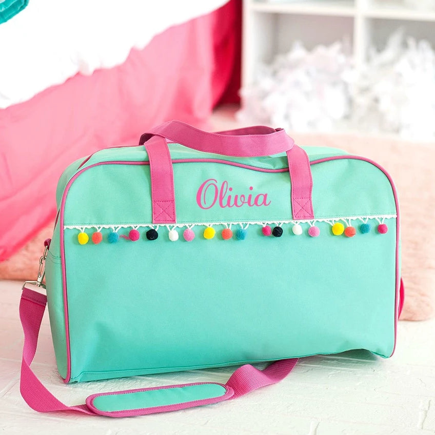 Personalized Pom-Pom Travel Bag for Kids - Mint