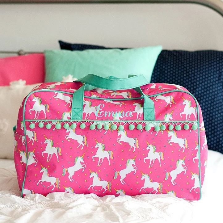 Personalized Pom-Pom Travel Bag for Kids - Unicorn