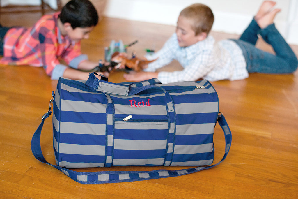 Personalized Large Barrel Duffel Bag - Kids Travel Bag - Striped Navy Gray