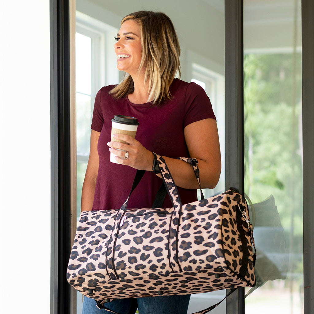 Personalized Large Barrel Duffel Bag - Travel Bag - Leopard