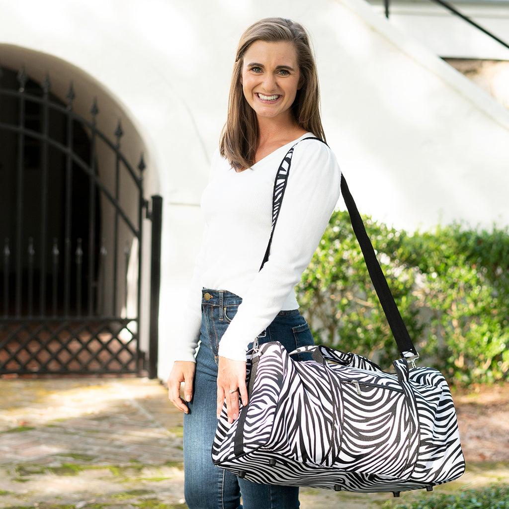 Personalized Large Barrel Duffel Bag - Kids Travel Bag - Zebra