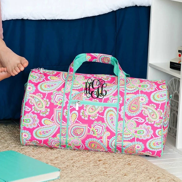 Personalized Large Barrel Duffel Bag - Kids Travel Bag - Paisley Pink Mint