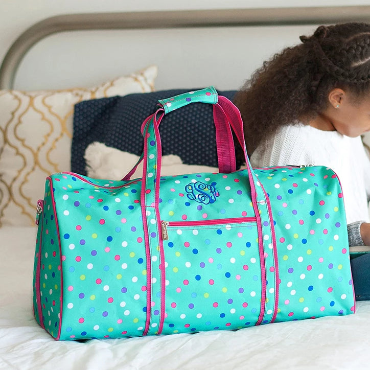 Personalized Large Barrel Duffel Bag - Kids Travel Bag - Polka Dot Mint