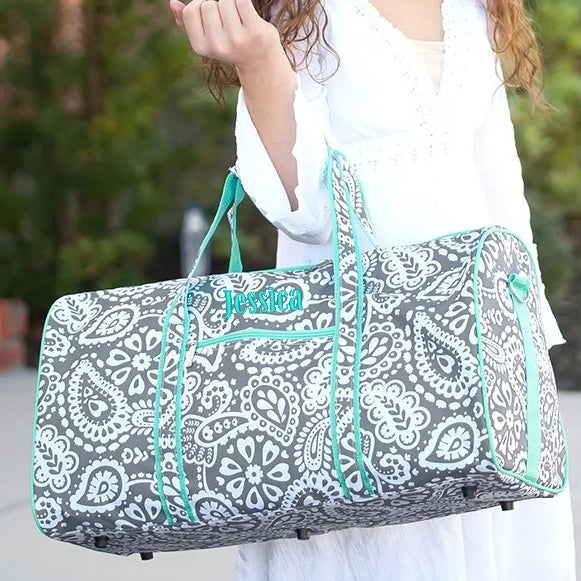 Personalized Large Barrel Duffel Bag- Kids Travel Bag - Paisley Gray Mint
