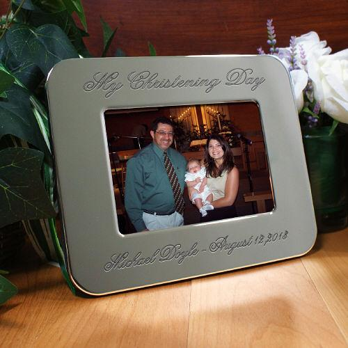 Personalized Engraved Christening Day Silver Picture Frame