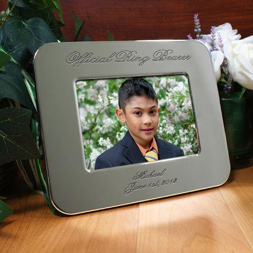 Personalized Engraved Ring Bearer Silver Picture Frame