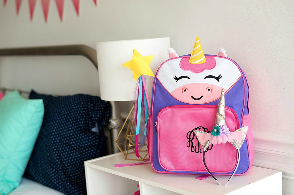 Personalized Preschool Backpack - Unicorn, Butterfly & Shark
