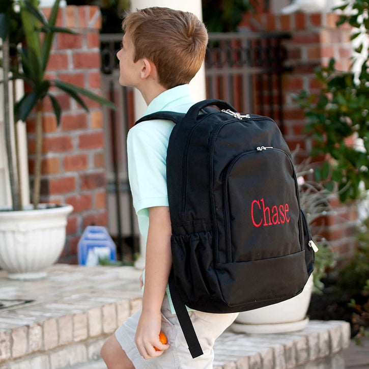 Personalized Backpack Bookbag Kids School Tote Bag - Black
