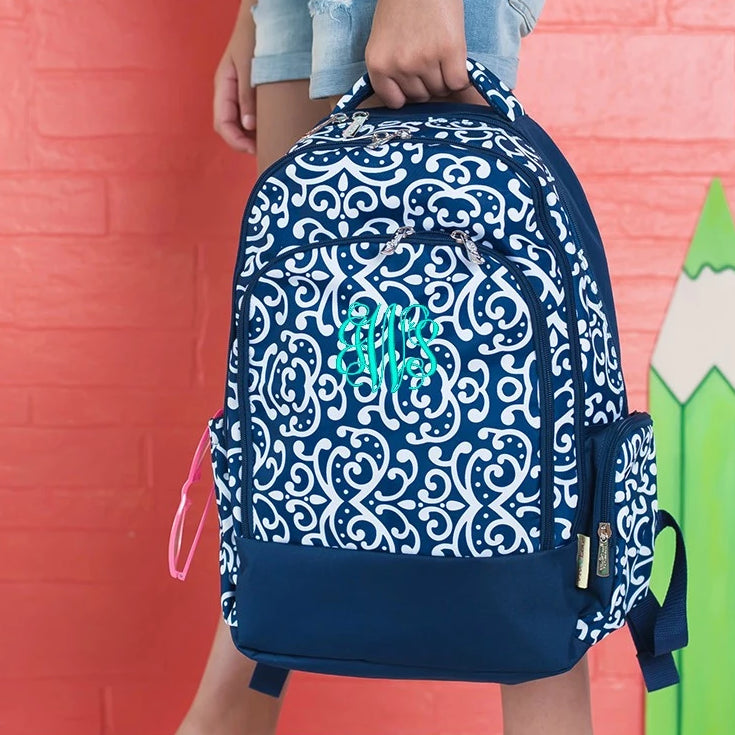 Personalized Backpack Bookbag Kids School Tote Bag - Navy White Damask