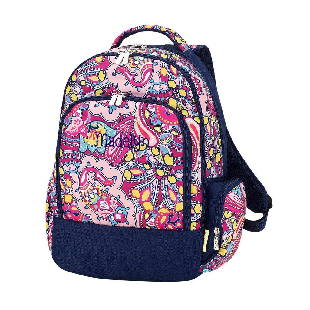 Personalized Backpack Bookbag Kids School Tote Bag - Dark Pink Paisley