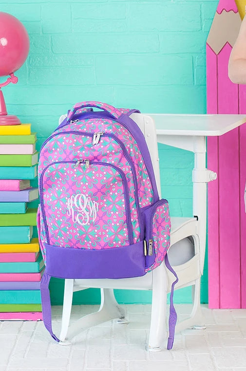 Personalized Backpack Bookbag Kids School Tote Bag - Moroccan Pink Purple