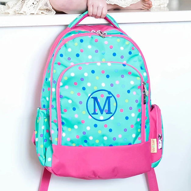 Personalized Backpack Bookbag Kids School Tote Bag - Mint Polka Dot