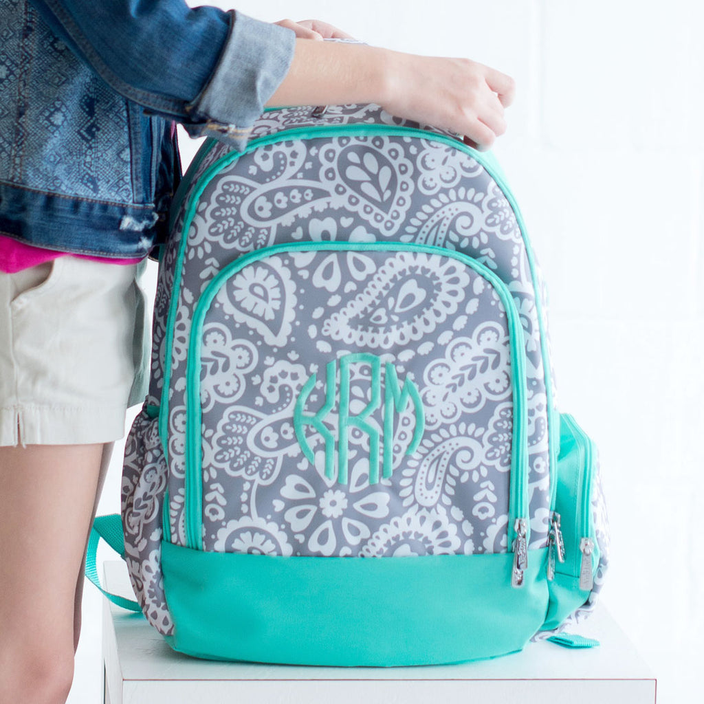 Personalized Backpack Bookbag Kids School Tote Bag - Gray Mint Paisley