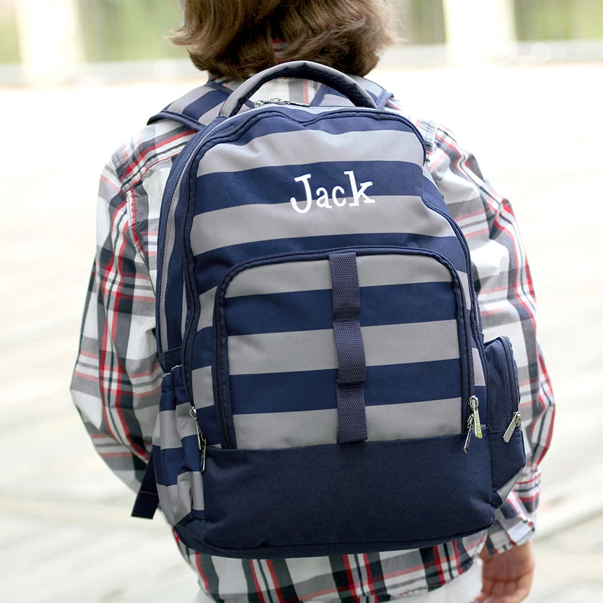 Personalized Backpack Bookbag Kids School Tote Bag - Striped Navy Gray