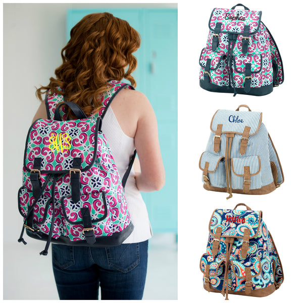 Monogrammed Campus Backpack Full Size Teen Bookbag - Gifts Happen Here - 1