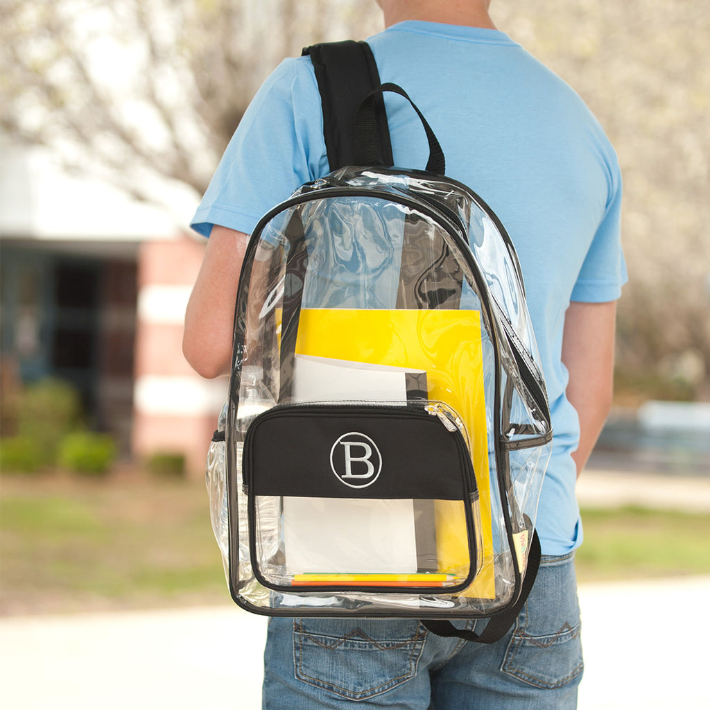 "Personalized Clear Backpack - 17"" Full Size - Black"