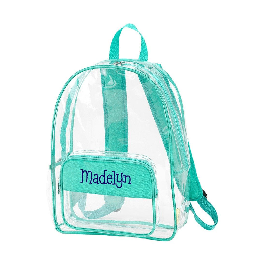 "Personalized Clear Backpack - 17"" Full Size - Mint"