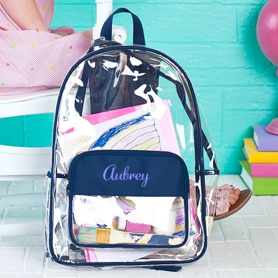 "Personalized Clear Backpack - 17"" Full Size - Navy"