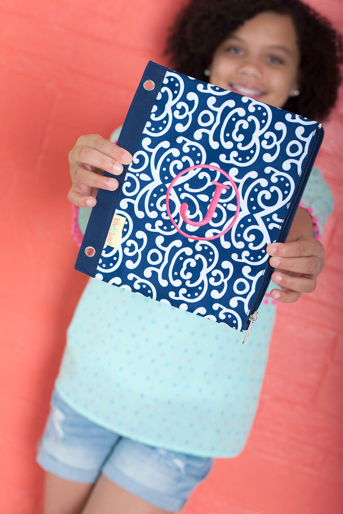 Personalized Kids Pencil Bag - Navy White Damask