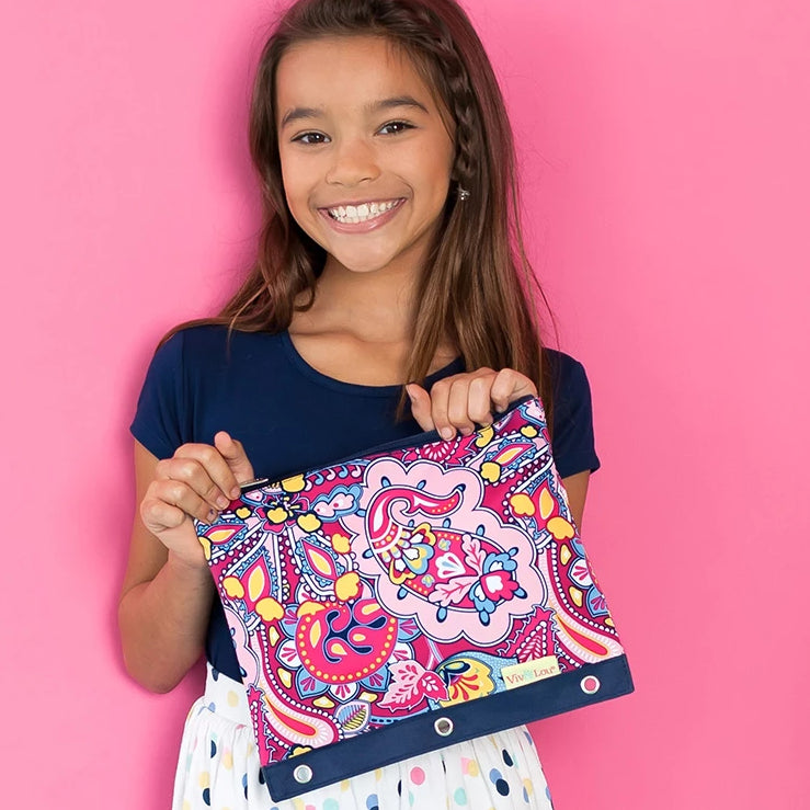 Personalized Kids Pencil Bag - Dark Pink Paisley