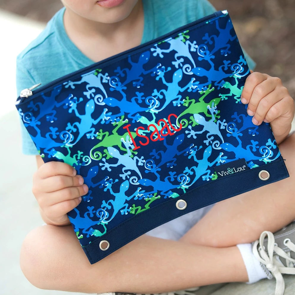 Personalized Kids Pencil Bag - Gecko