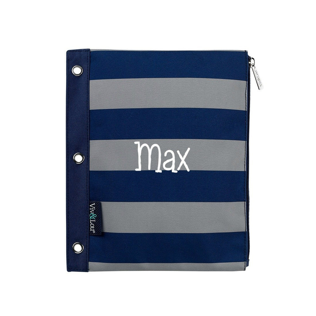 Personalized Kids Pencil Bag - Striped Navy Gray