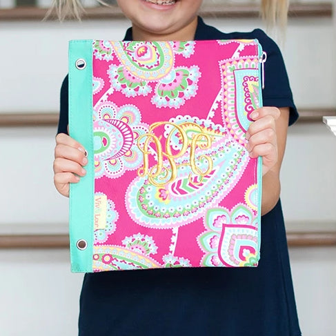 Personalized Kids Pencil Bag - Paisley Pink & Mint