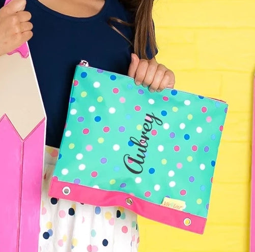 Personalized Kids Pencil Bag - Mint Polka Dot