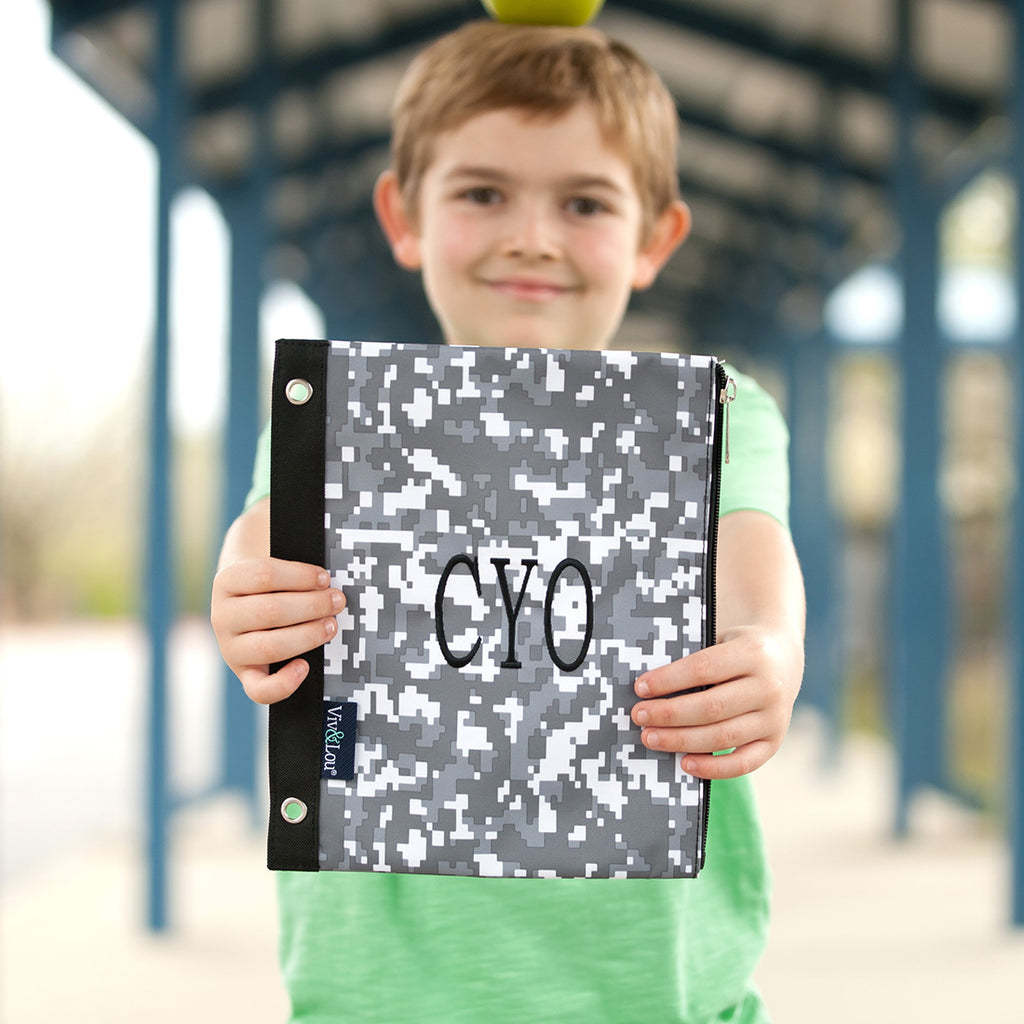 Personalized Kids Pencil Bag - Digi Camo Gray